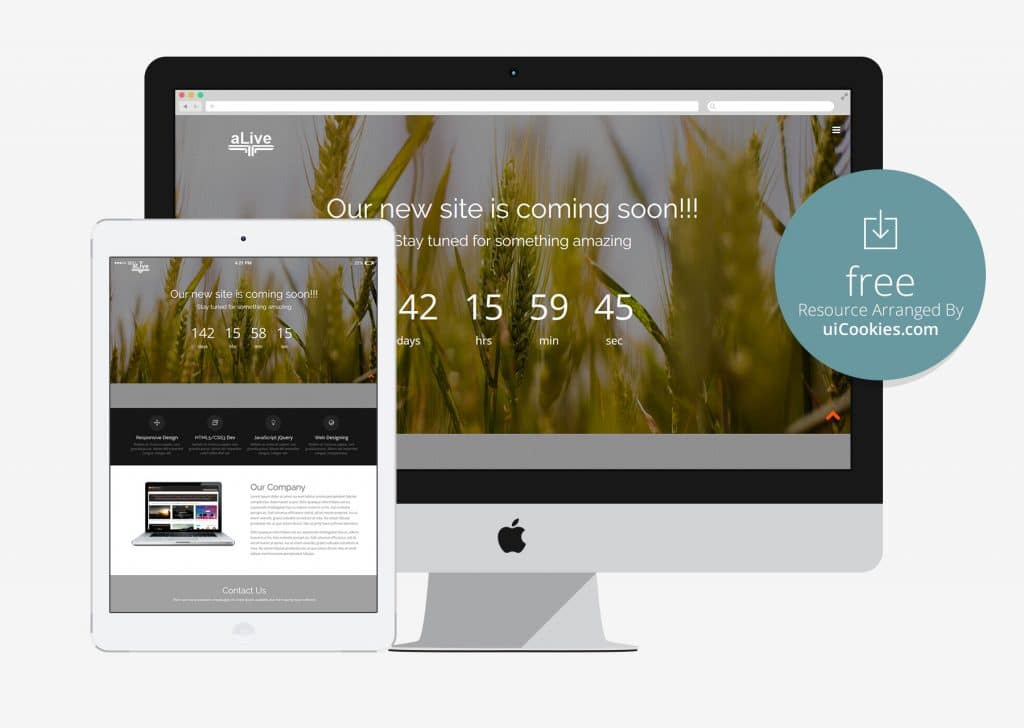 alive responsive under construction web page template - Free Html5 Responsive Templates