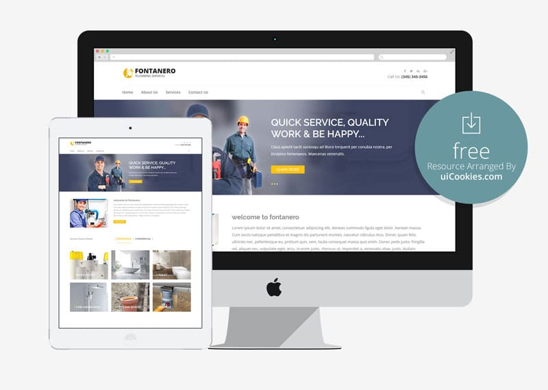 fontanero free plumbing construction repair html5 website template - Free Web Templates