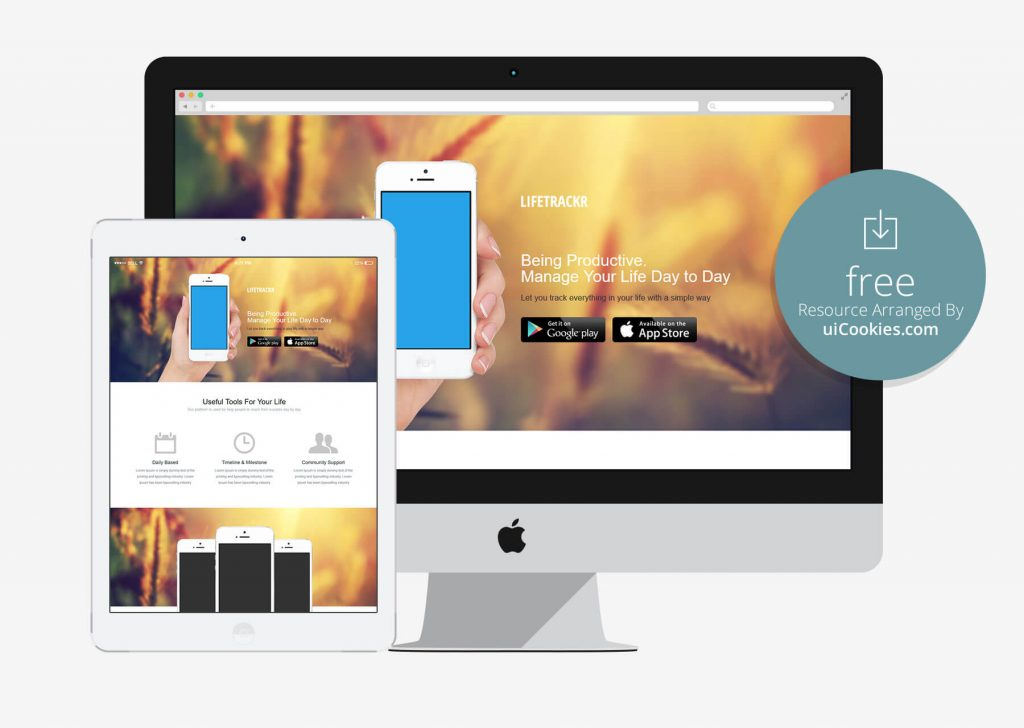 Lifetrackr - Bootstrap Mobile Landing Page Template