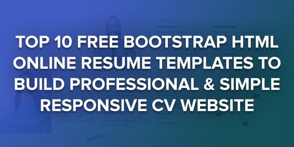 Good 10 Free Bootstrap HTML Resume Templates For Personal CV Website 2018    UiCookies