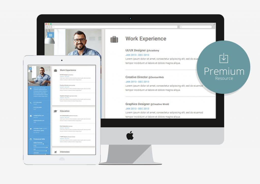 10 free bootstrap html online resume templates for cv