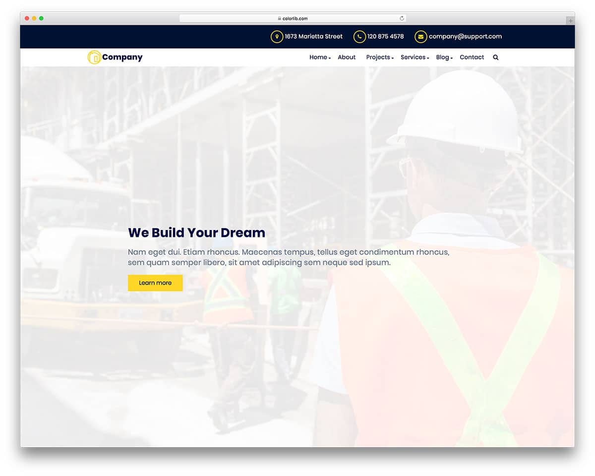 20 Premium & Free Bootstrap Construction Company Website