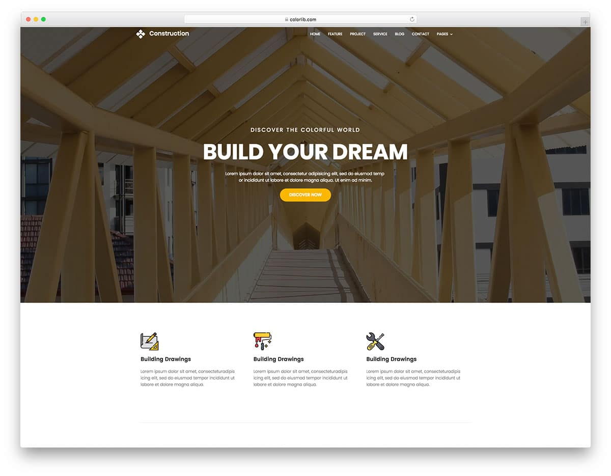 10 free bootstrap construction company website templates 2018 for Home builder website