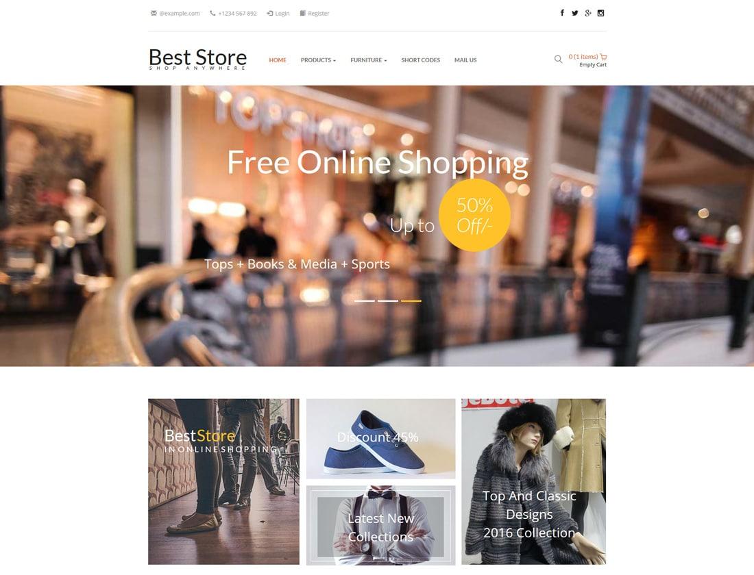 20 best free ecommerce website templates in 2018 uicookies for Best website for online store