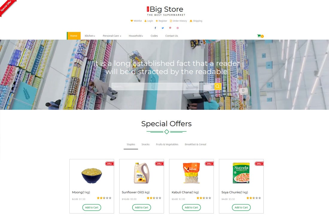 big store free ecommerce website templates