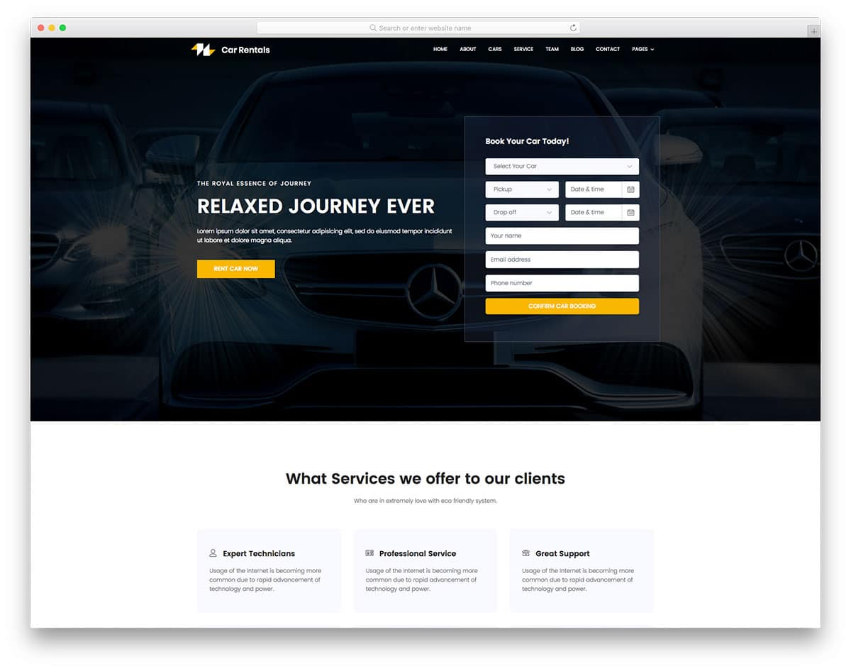 carrental-free-travel-website-templates