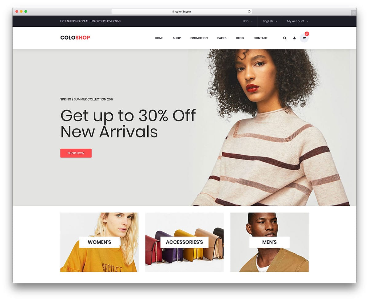 coloshop free bootstrap ecommerce website templates