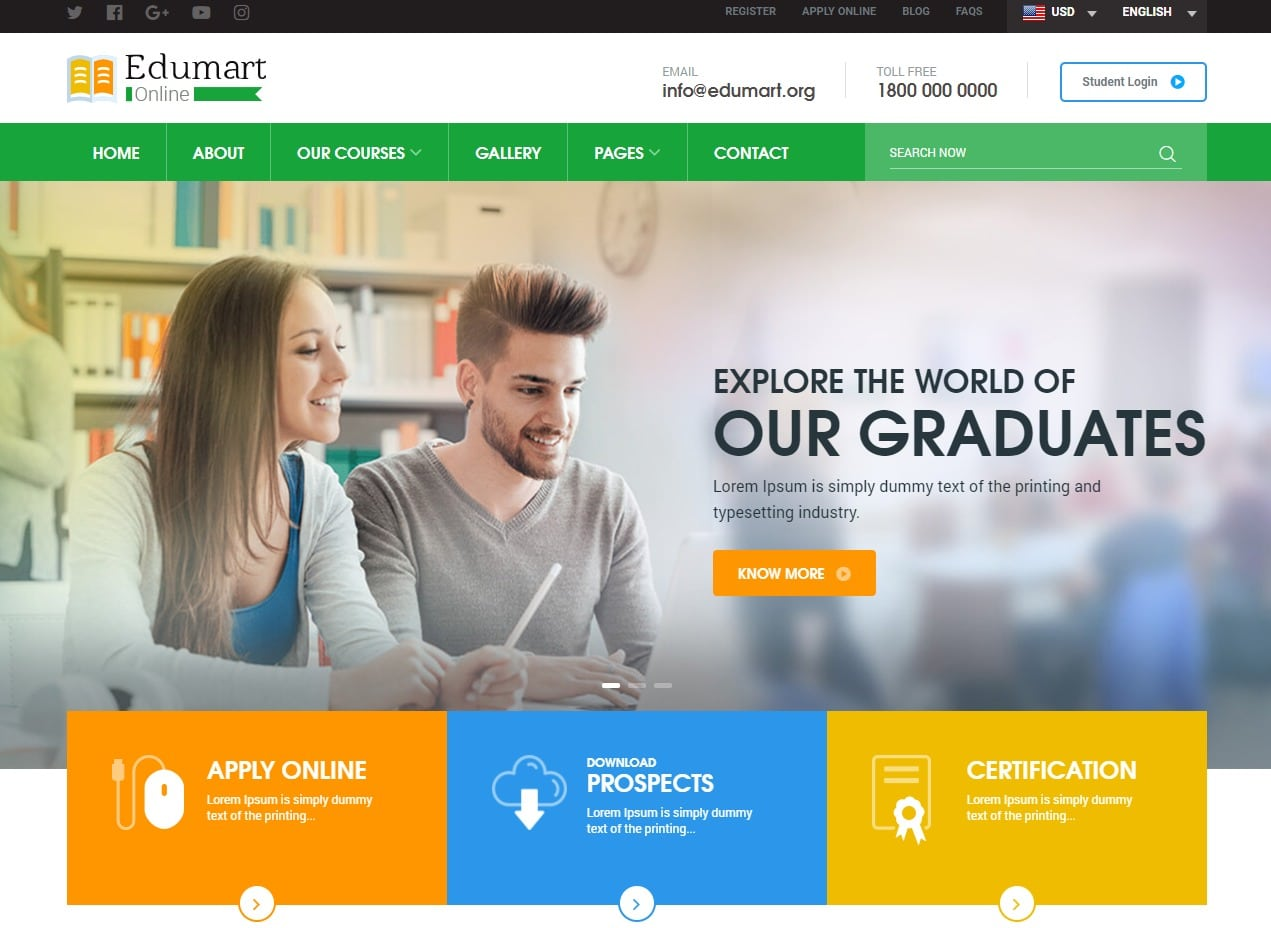 25 amazing education website templates for college universities edumart html education website template maxwellsz