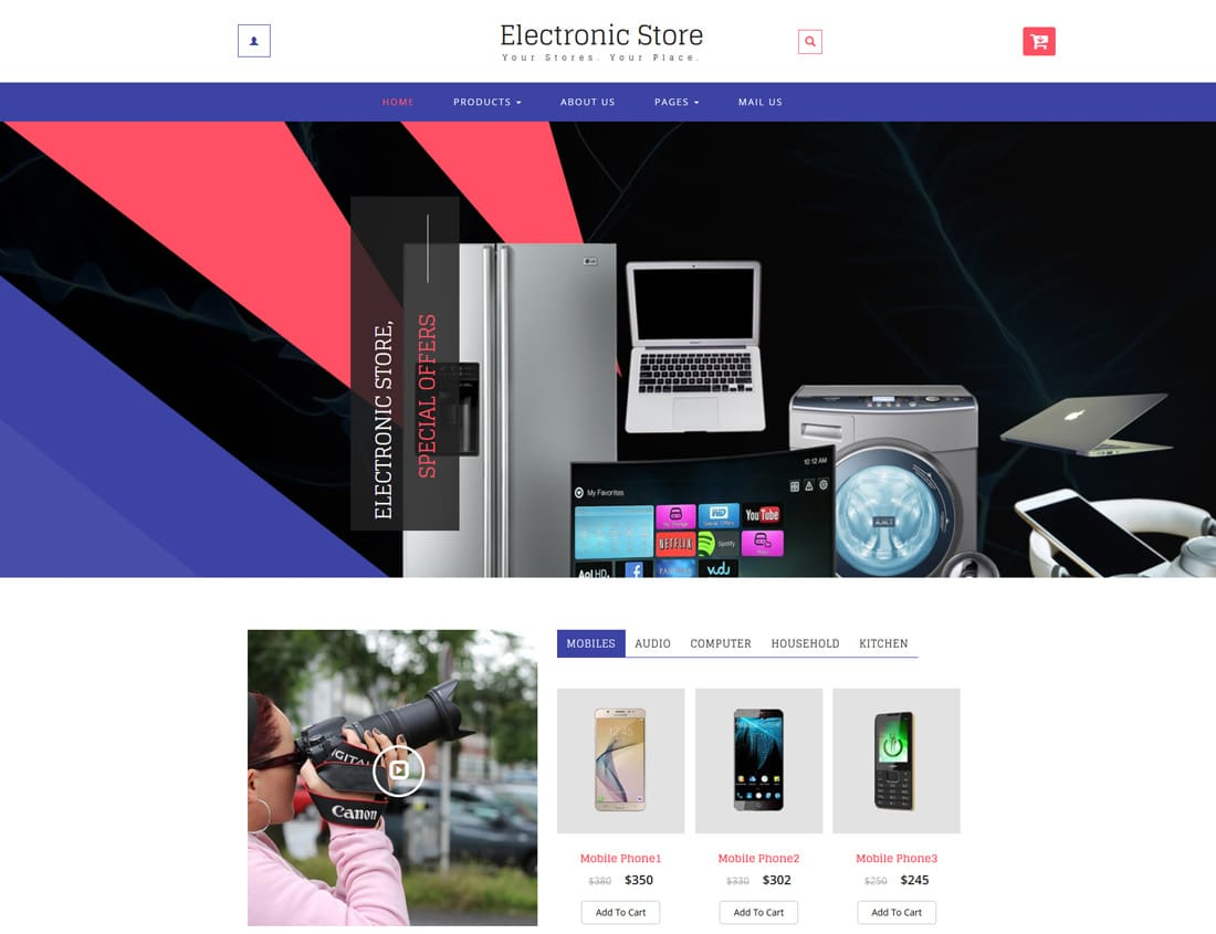 electronic store free ecommerce website templates
