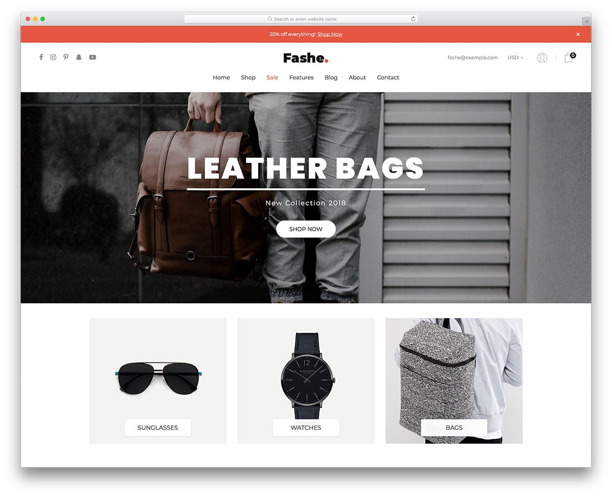 20 Best Free eCommerce Website Templates In 2018 - UICOOKIES