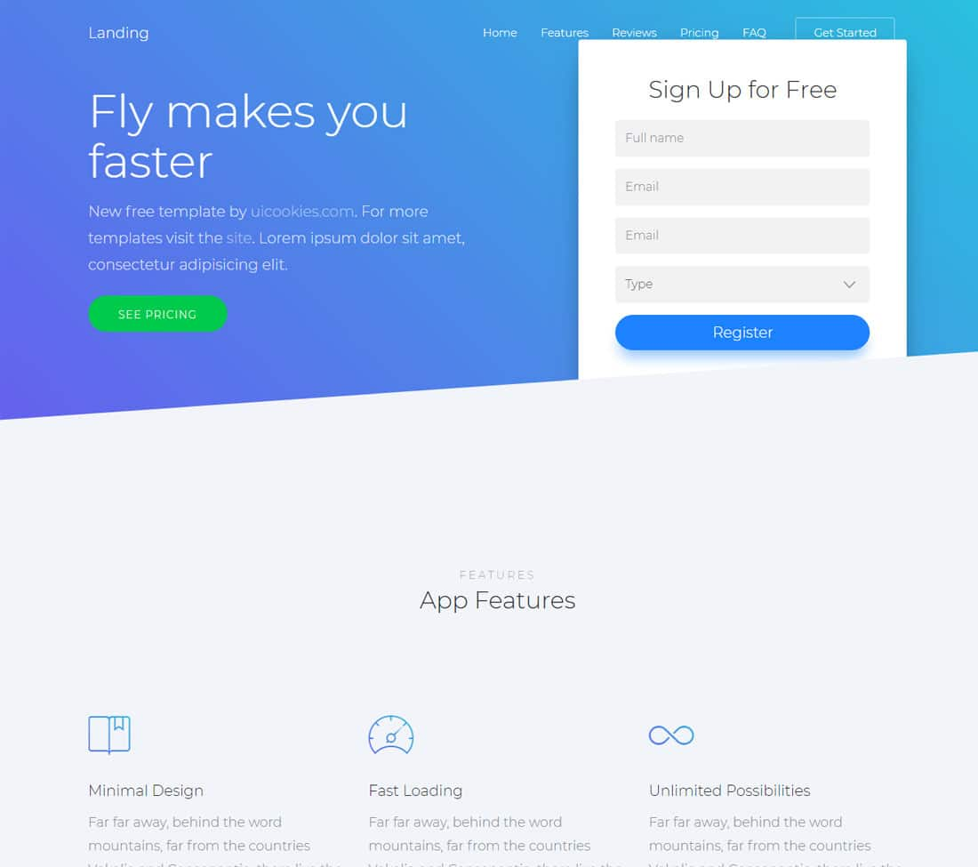 27 best free landing page templates 2018 uicookies for Free landing page templates for wordpress