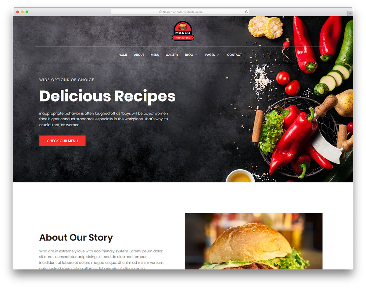 Marco Free Restaurant Website Templates