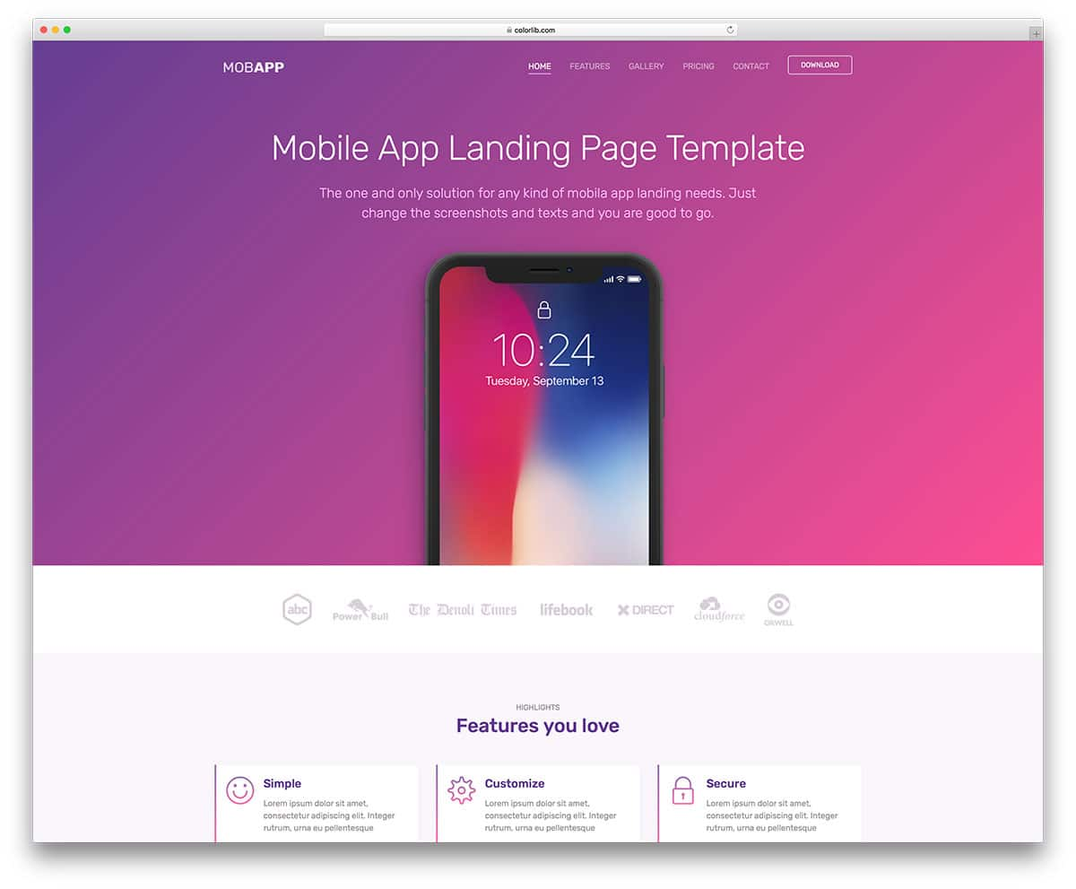 mob app free landing page templates