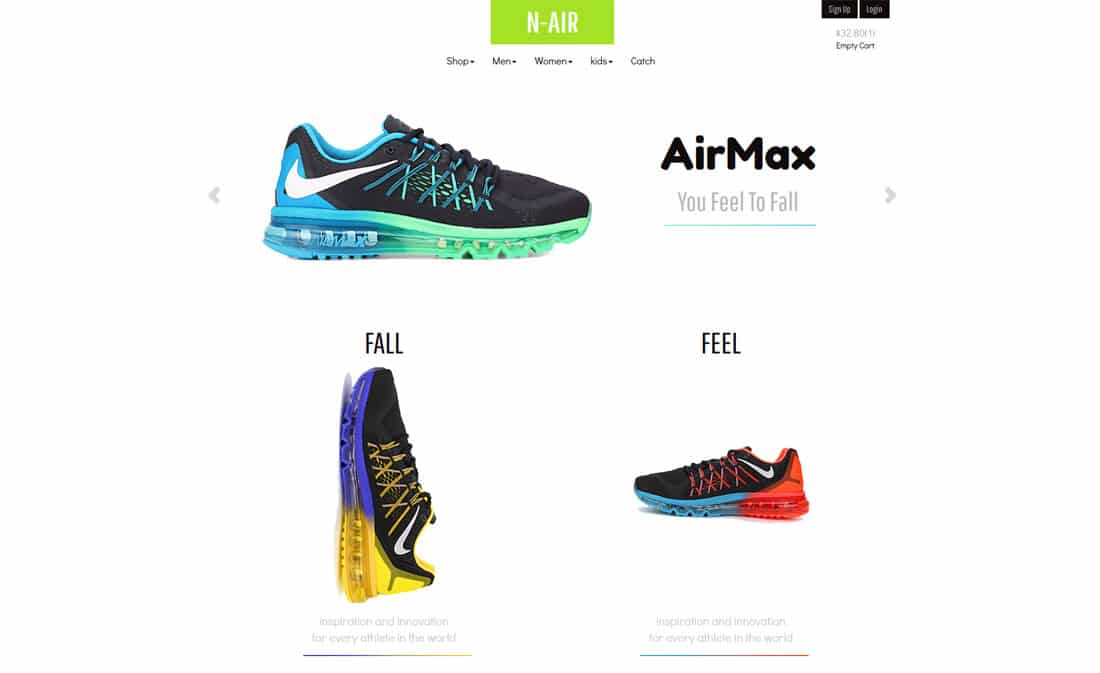 n air free ecommerce website templates
