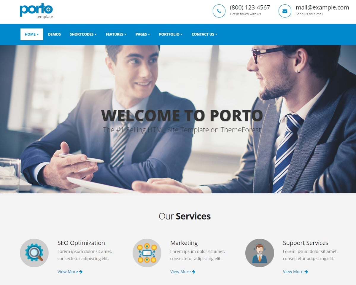25 amazing premium html5 corporate business website template for 2018 porto responsive html business website template accmission Choice Image