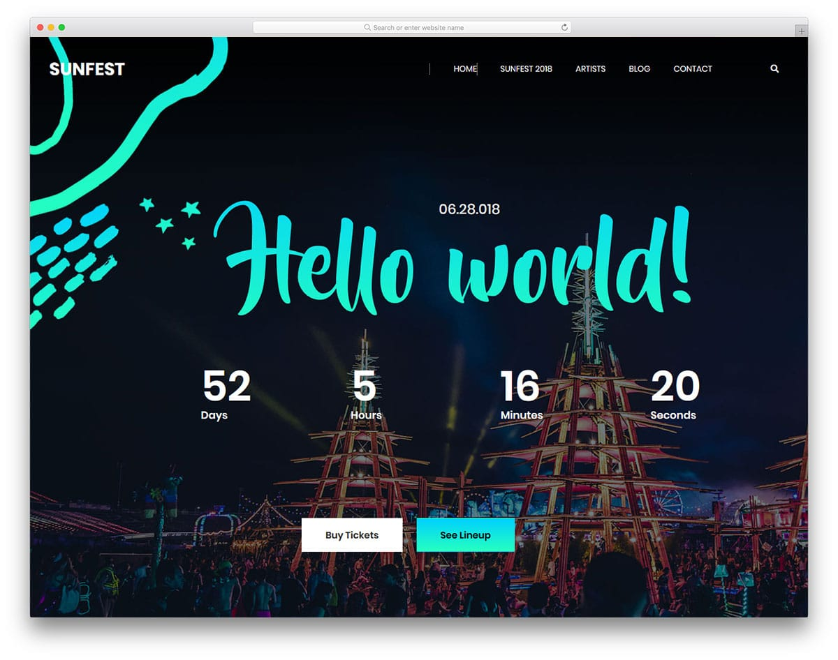 sunfest-free-one-page-website-templates