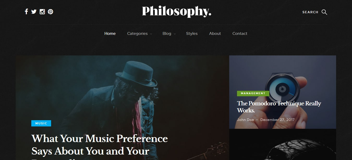 philosophy free responsive html blog template