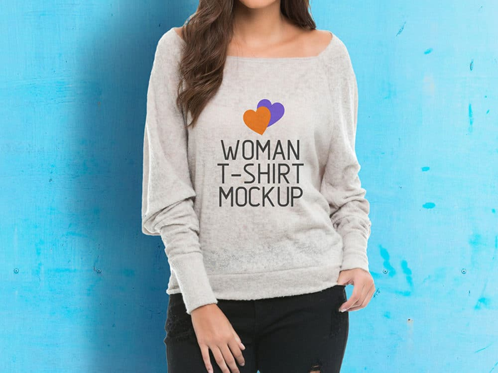 Woman-T-Shirt-Mockup-With-Model
