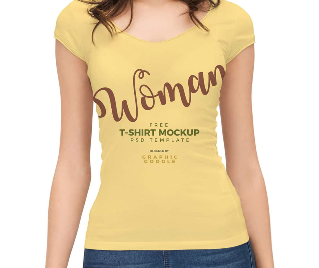 women t shirt mockup with model 9 - Free T Shirt Mockup Template