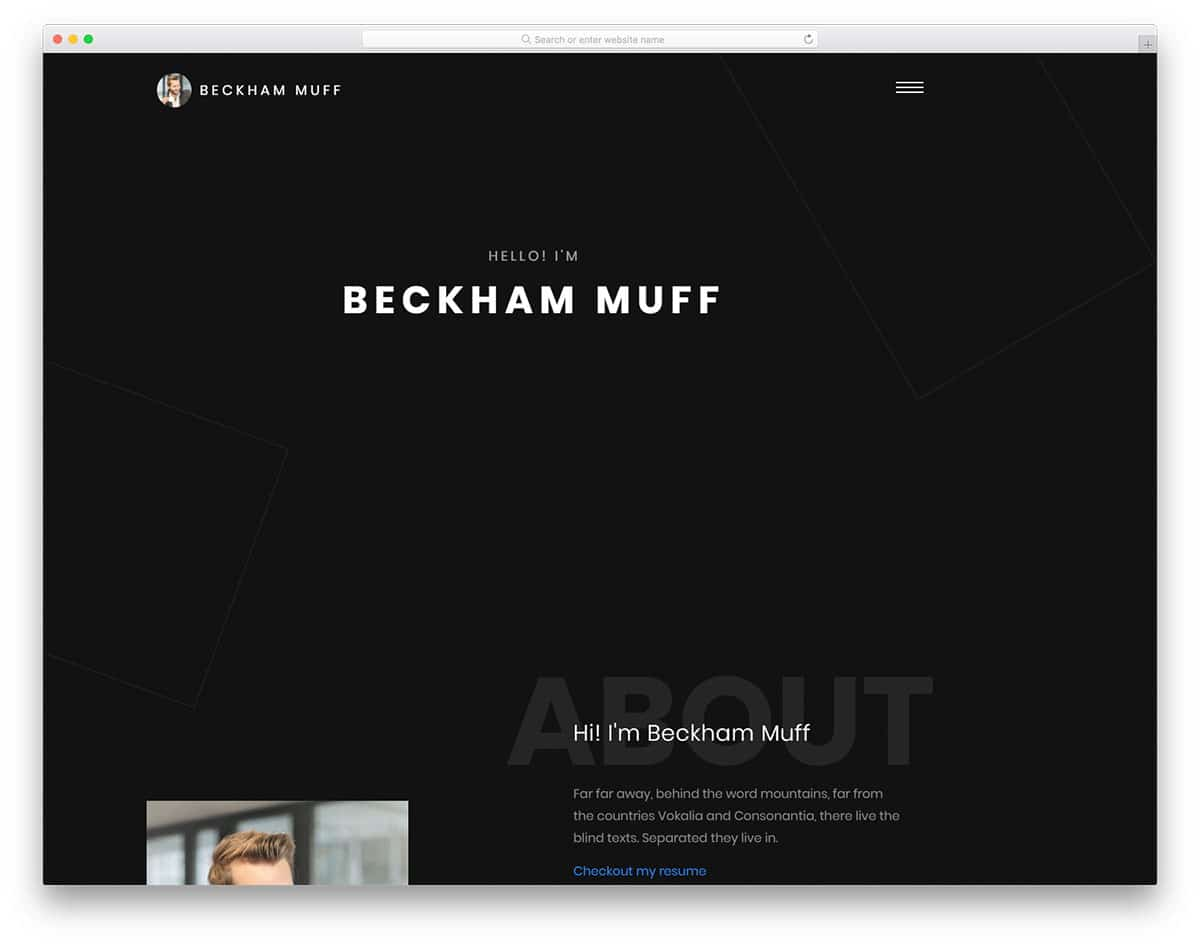 beckham free portfolio website templates
