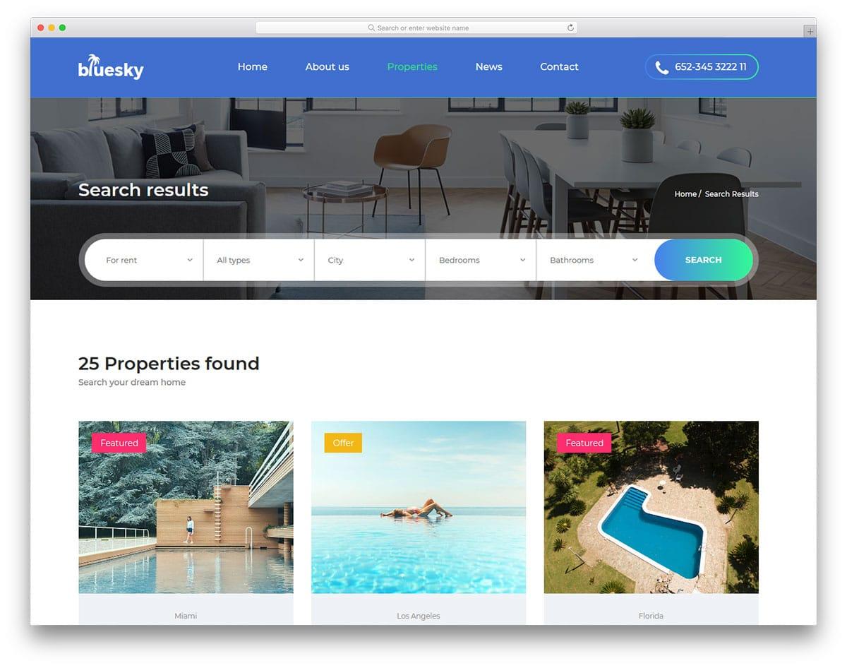 bluesky-free-real-estate-website-templates