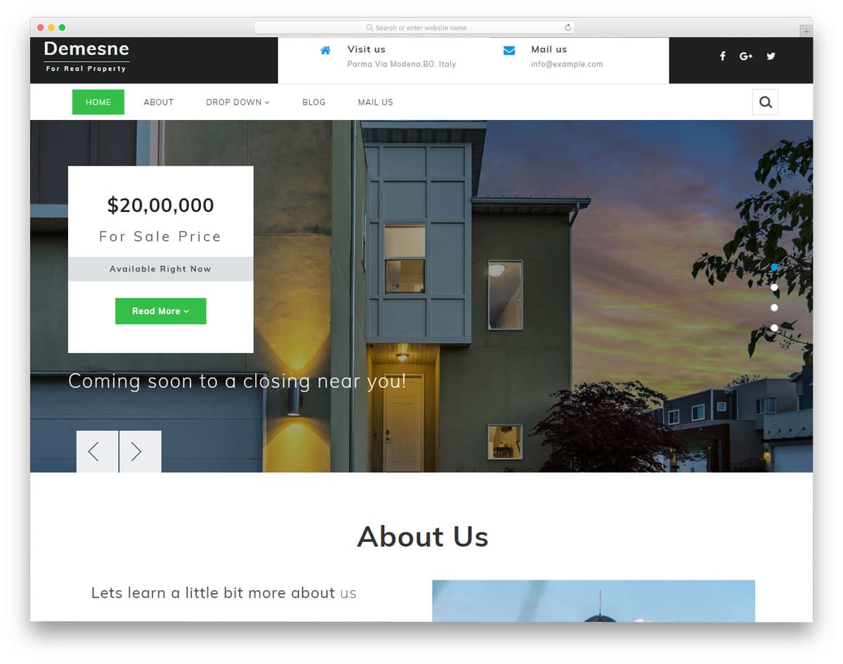 demesne free real estate website templates