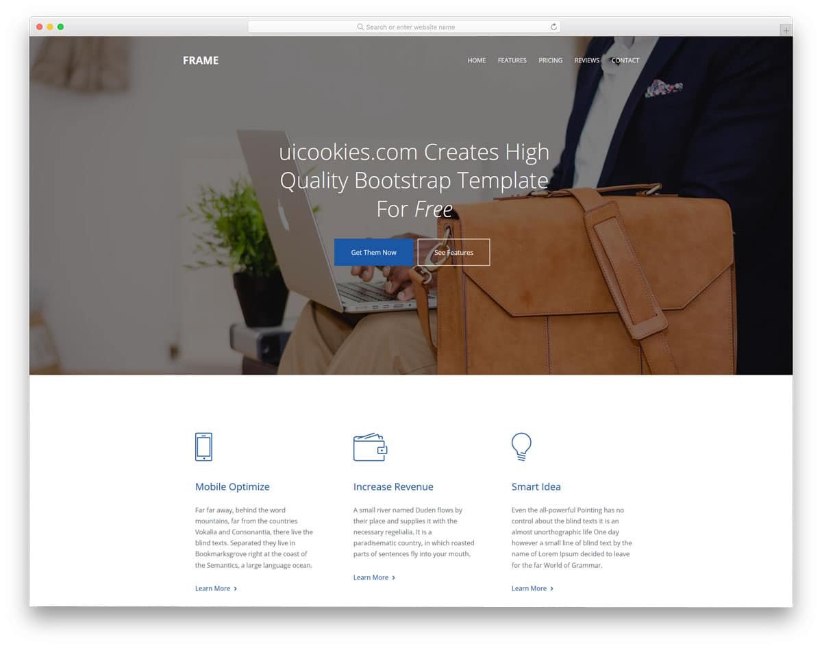25 free bootstrap business templates to create a signature website frame free bootstrap business templates flashek Images