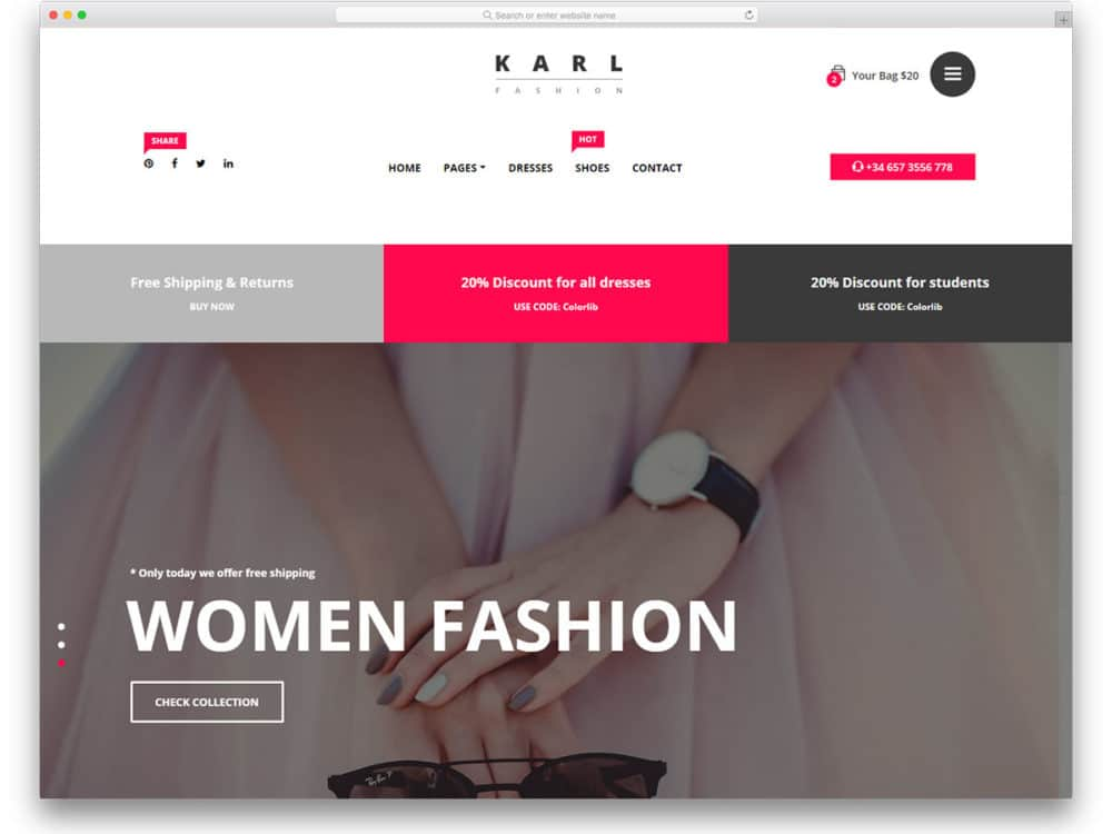 karl free fashion website templates