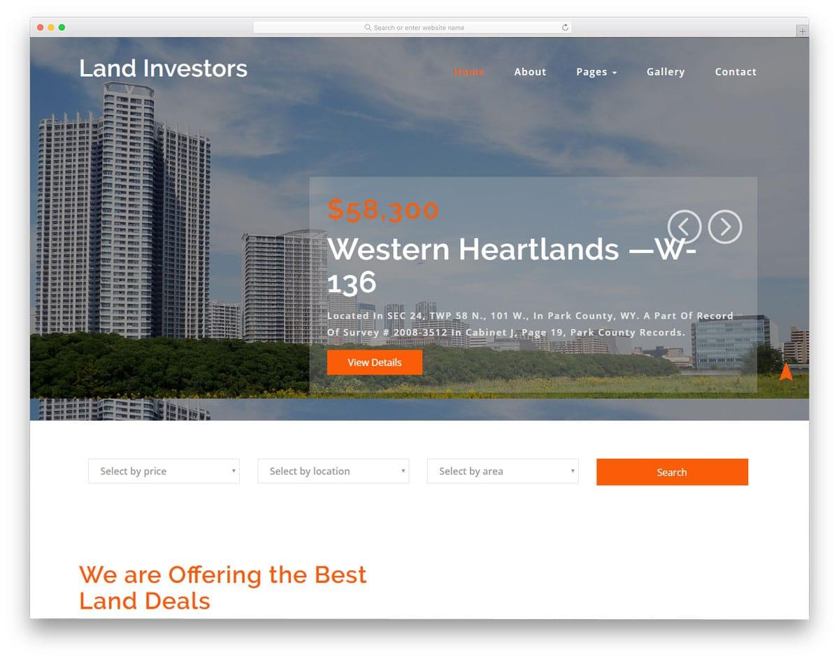 land investors free real estate website templates