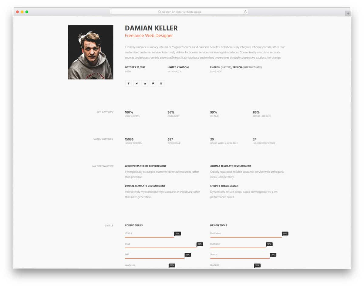 my-profile-free-personal-website-templates
