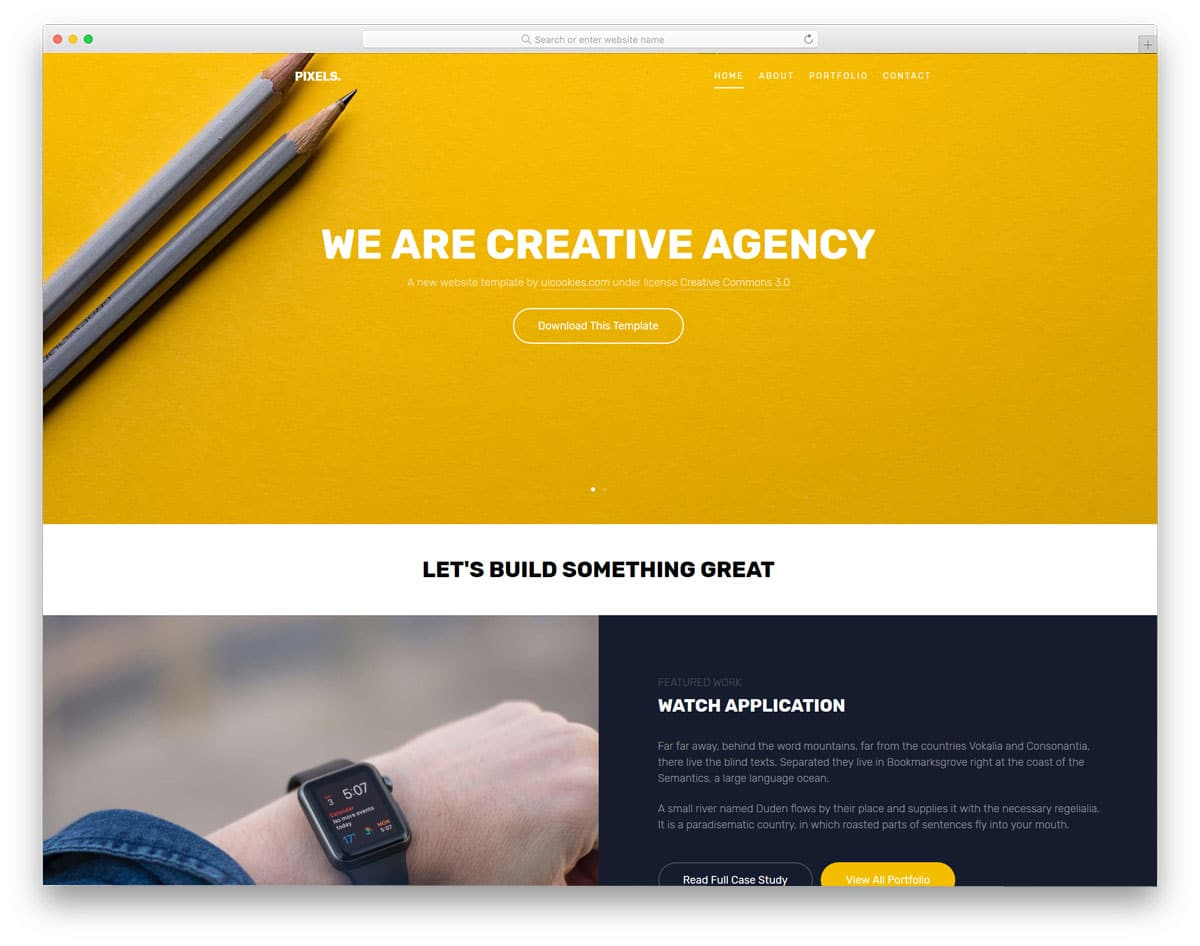 pixels free portfolio website templates