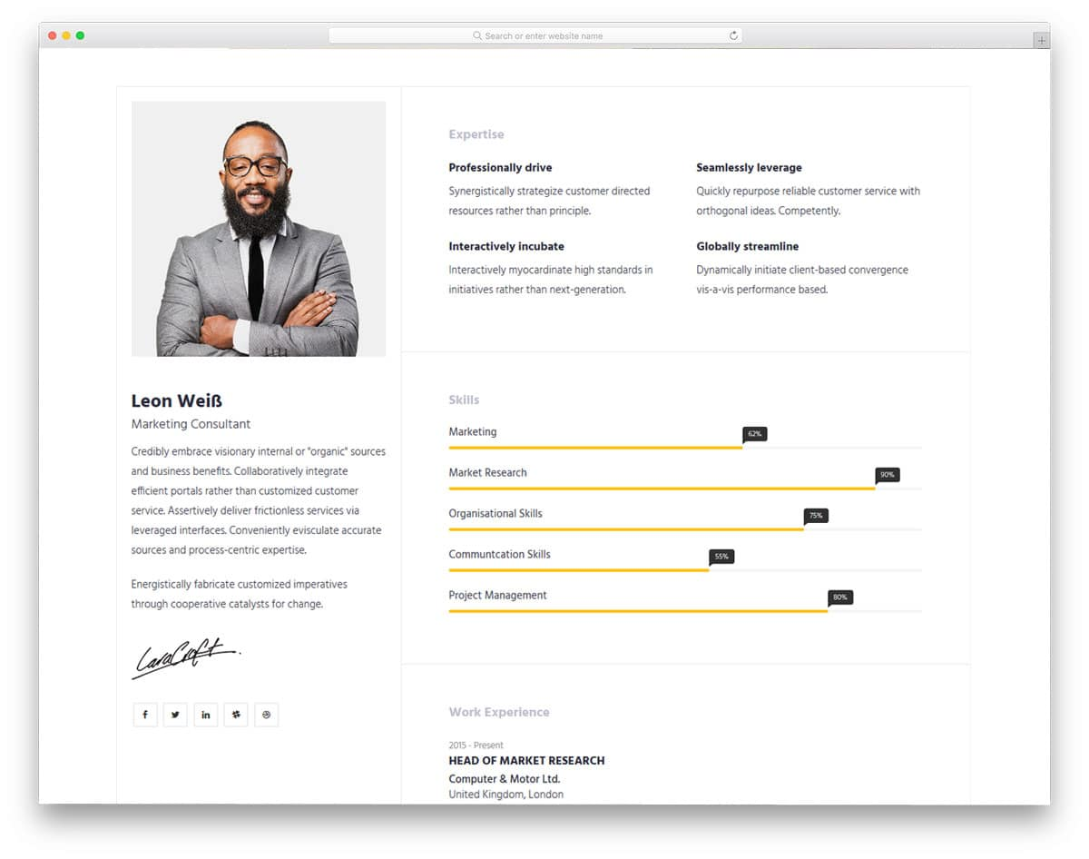 resume website templates free