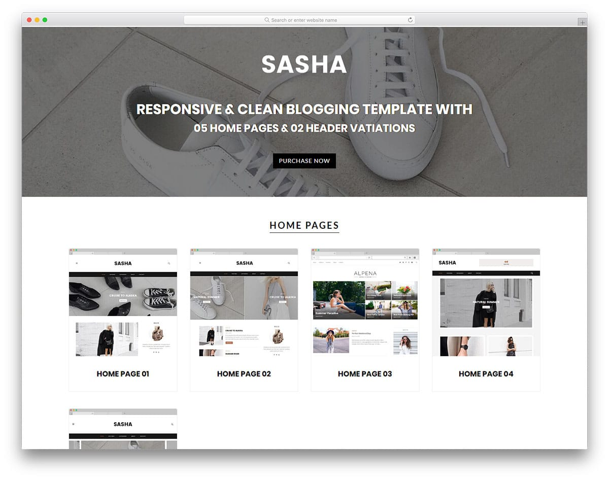 sasha-free-personal-website-templates