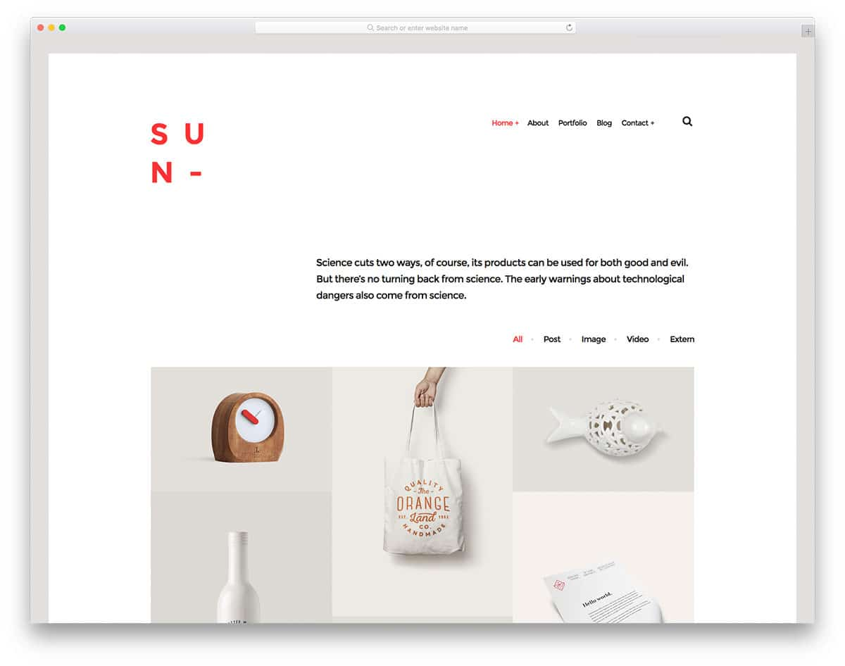 sun free portfolio website templates