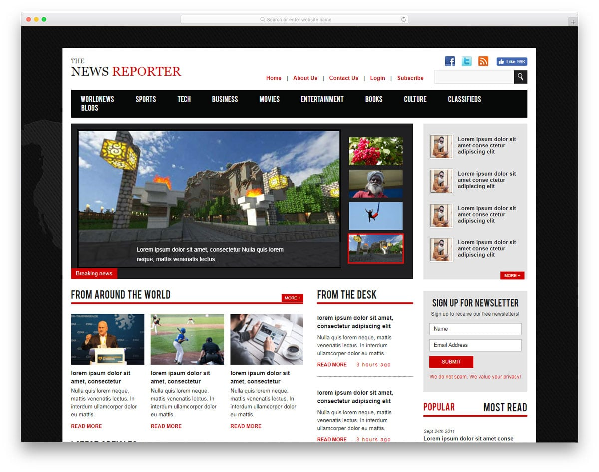 20 Free News Website Templates That Follows Leading News Site Design