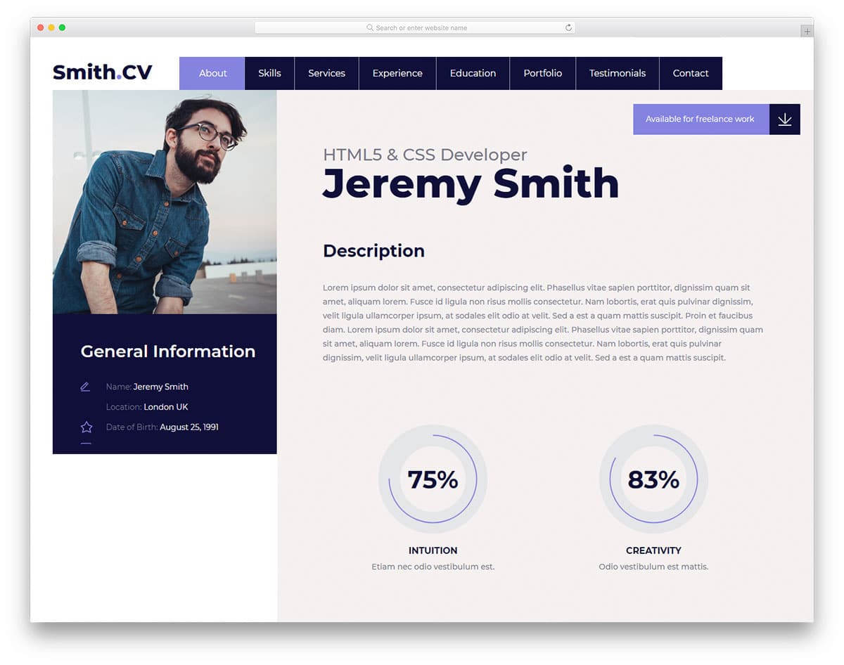 25 best free personal website templates for professionals 2018 vcard2 free personal website templates maxwellsz