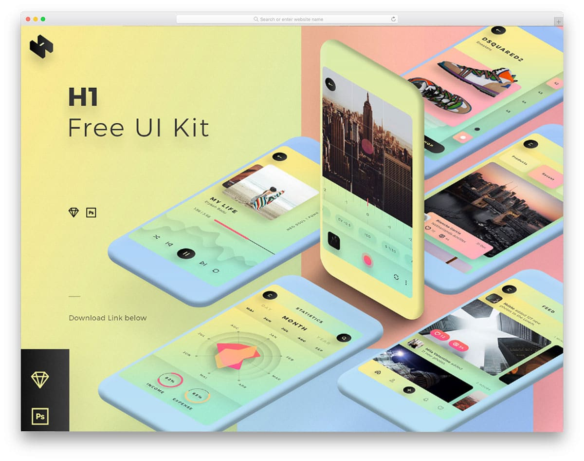 H1-Free-Mobile-UI-Kit-free-ui-kits