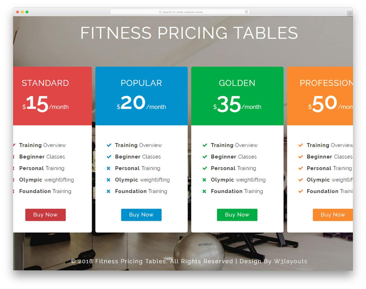 fitness-pricing-tables