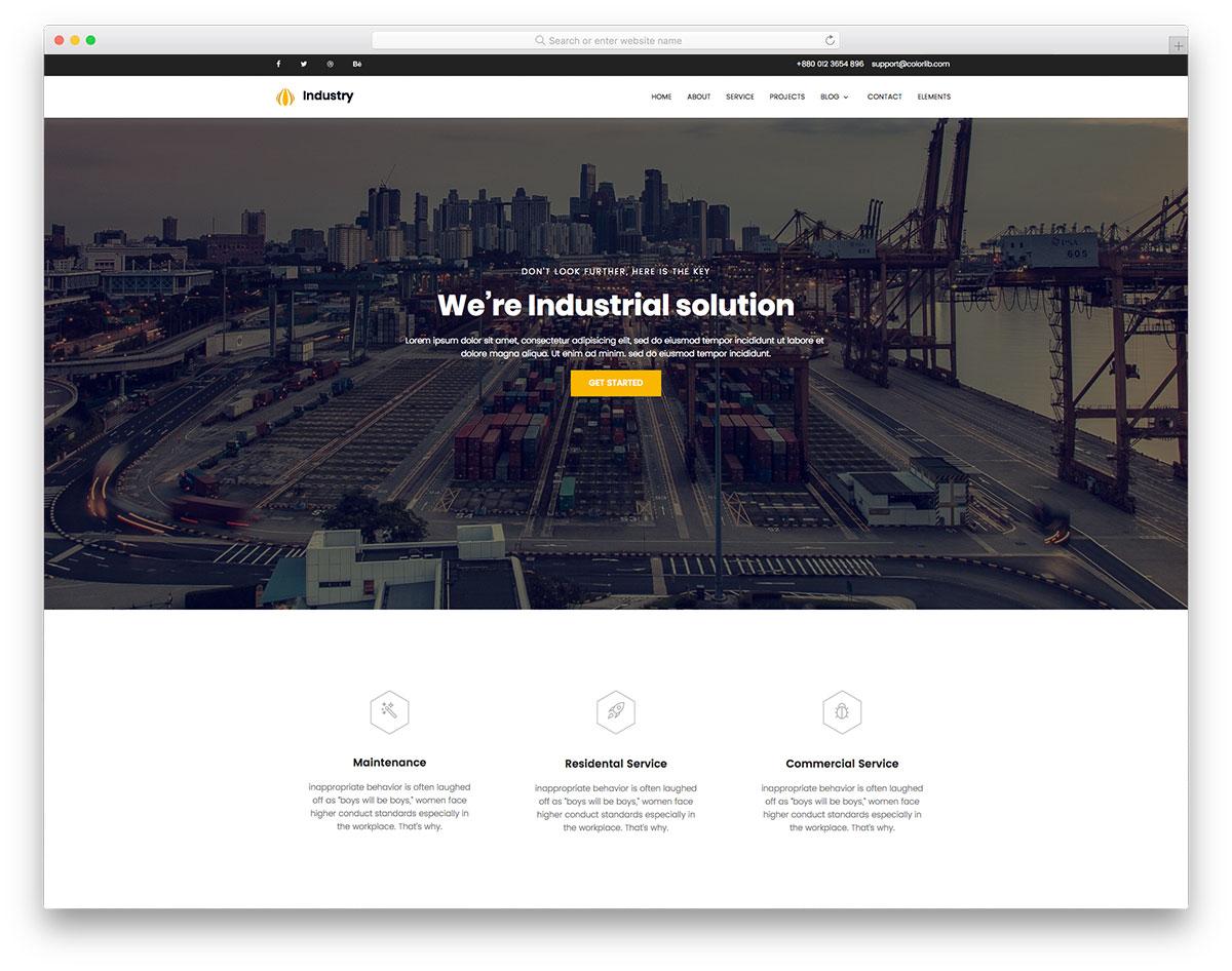 industry-free-hosting-website-templates