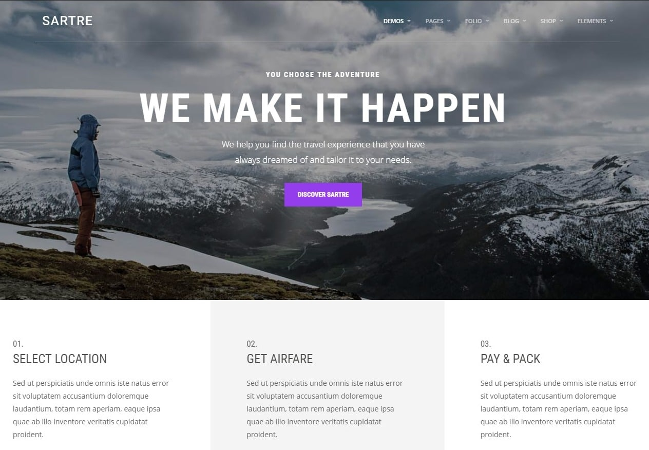 sartre-travel-website-template