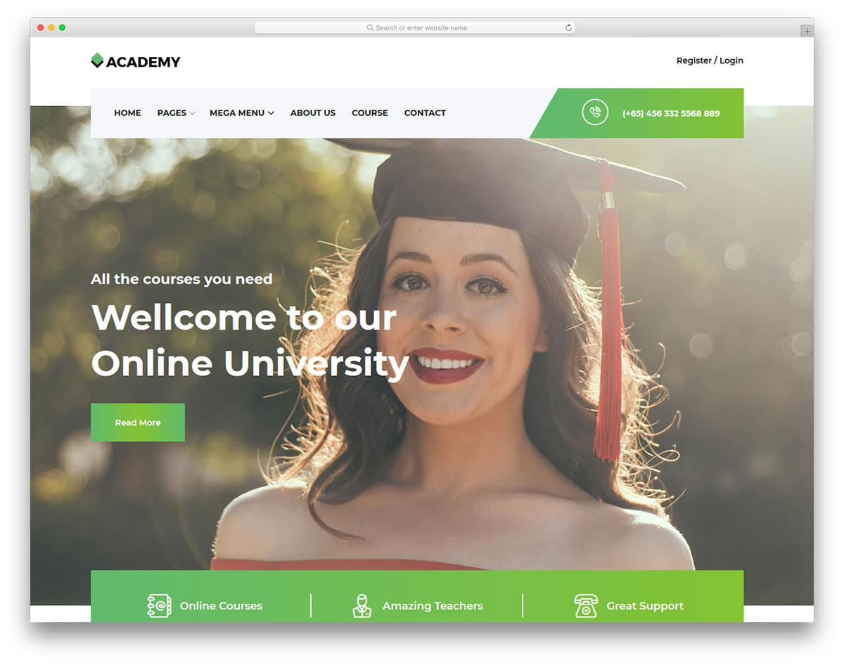 academy-free-clean-website-templates
