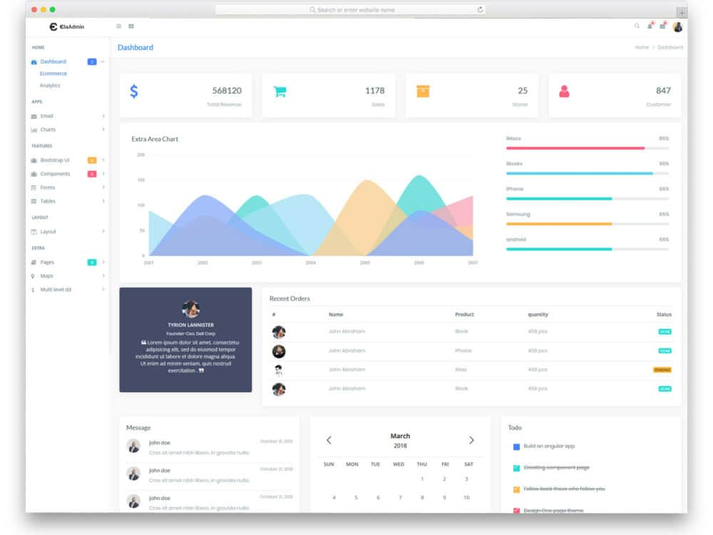 elaadmin free simple bootstrap admin templates