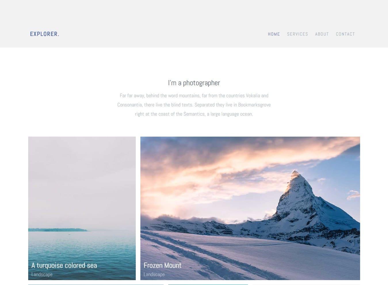 explorer-gallery-website-template