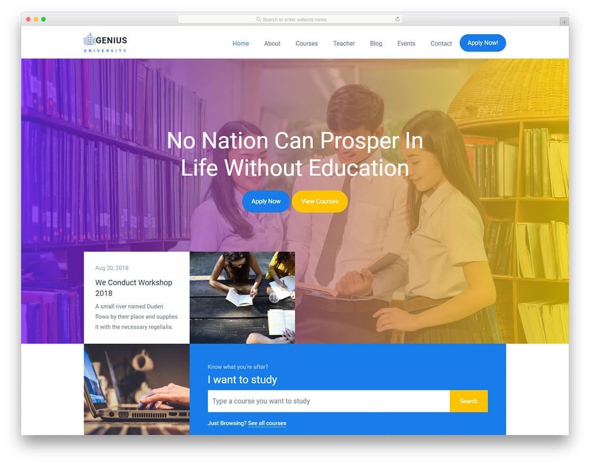 genius-free-school-website-templates