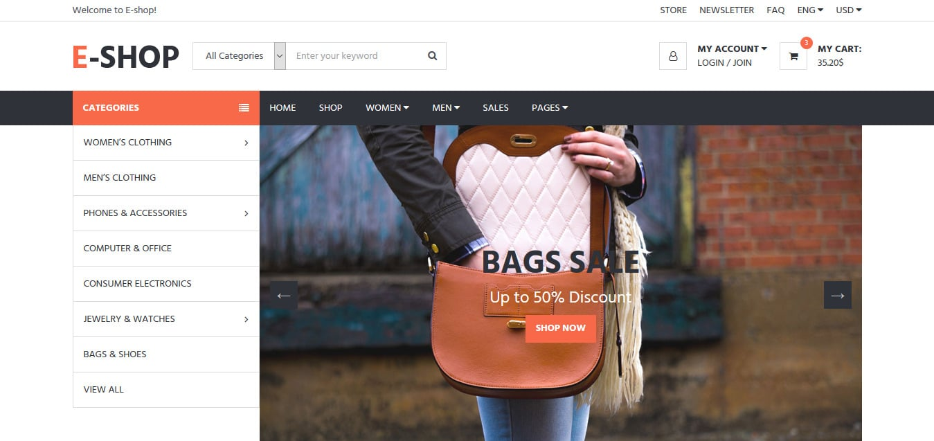 E SHOP-free-bootstrap-ecommerce-website-template