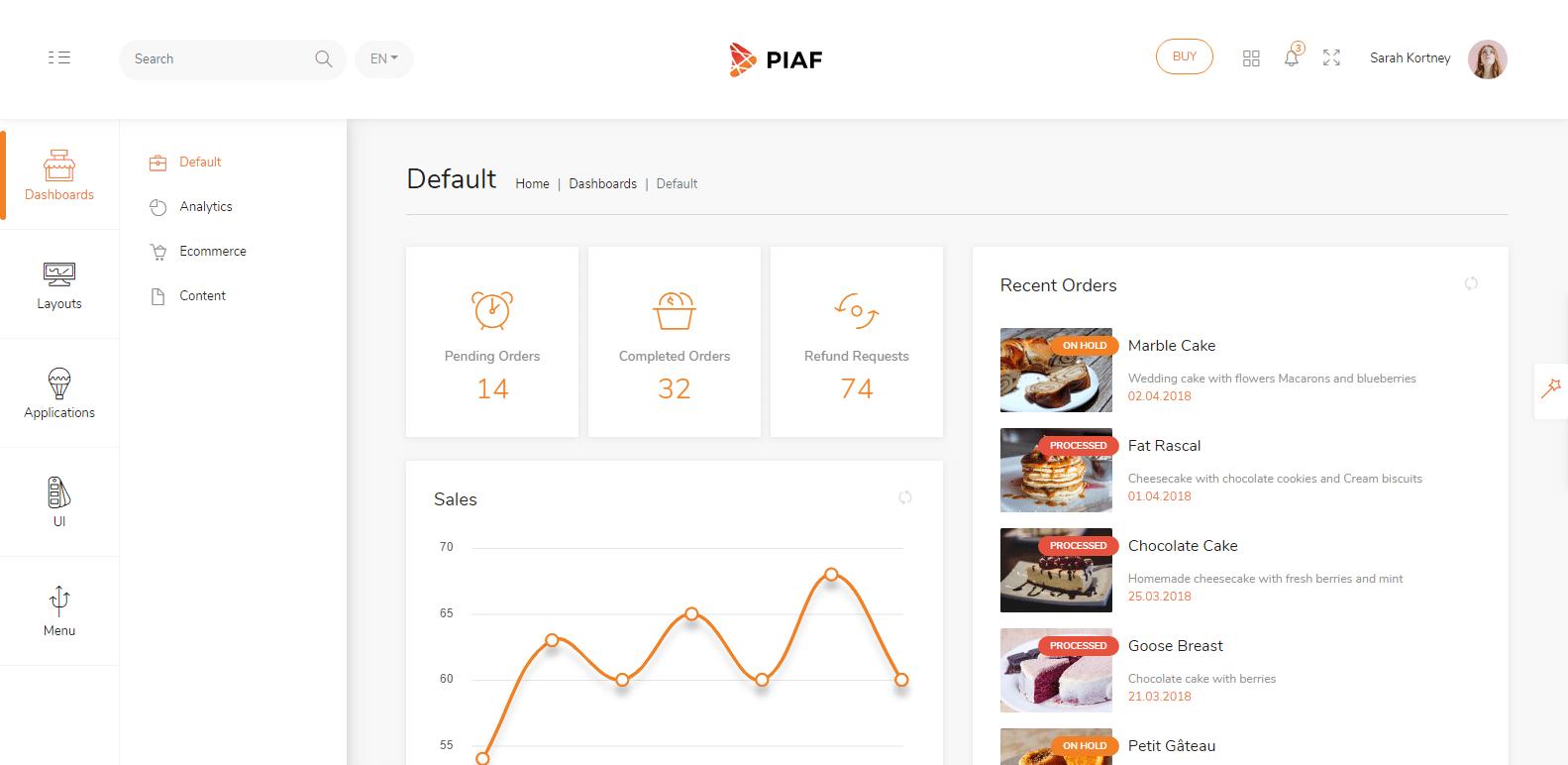 Piaf Vue 2 Bootstrap 4 Admin Dashboard Template