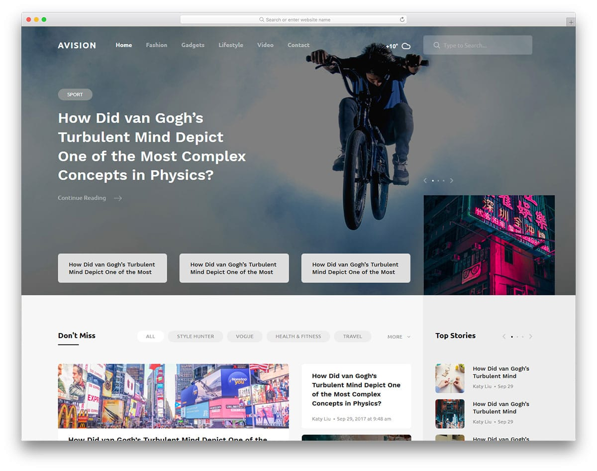 Avision Free Sports Website Templates