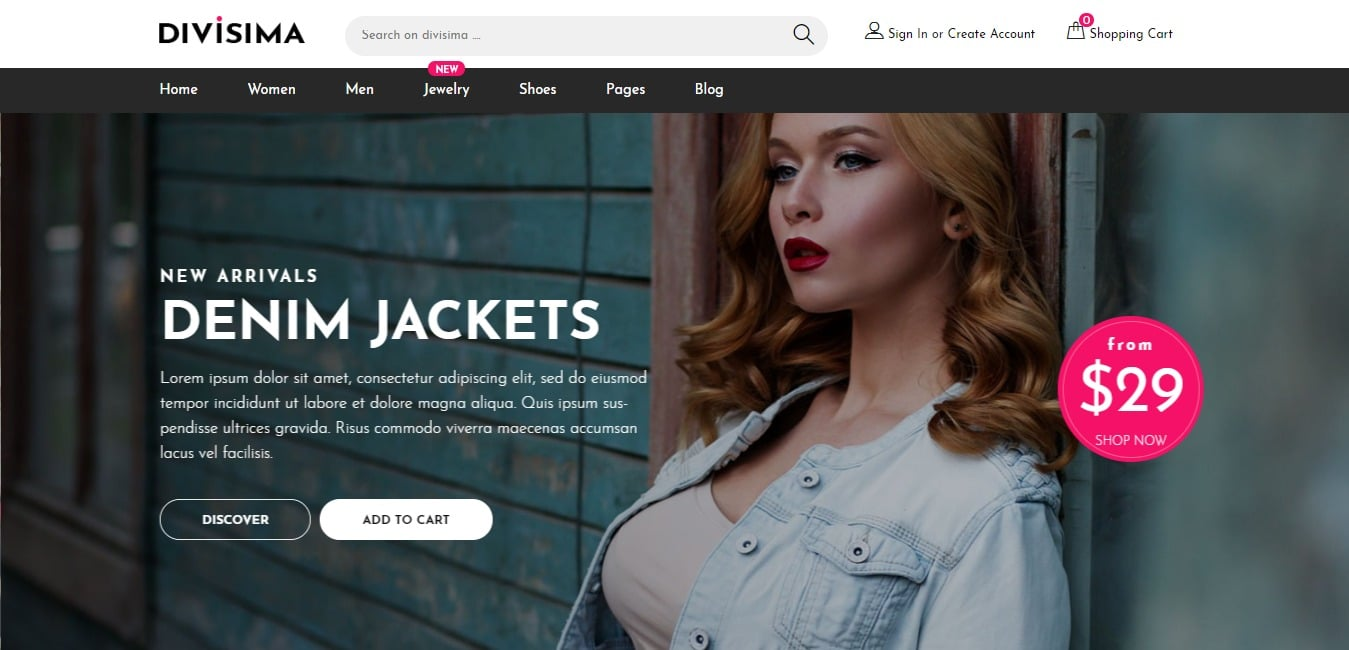 divisima shop website template