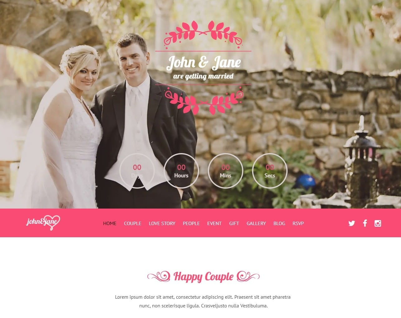 J&J wedding website template