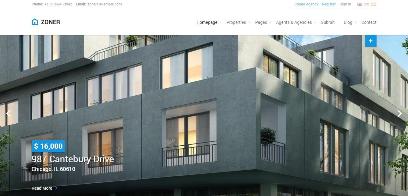 Zoner premium real estate website template